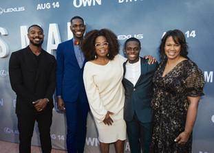 Oprah Winfrey with executive producer Michael B. Jordan, creator and executive producer Tarell Alvin