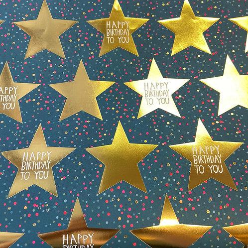 Blue Gold Star Happy Birthday Gift Wrap