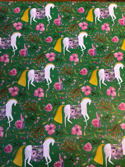 Green Unicorn Gift Wrap