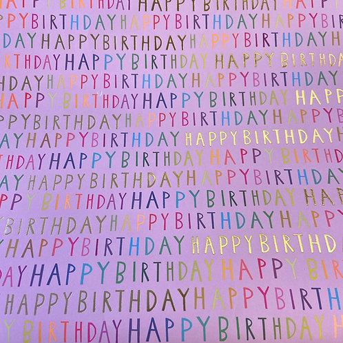 Pink Happy Birthday Gift Wrap