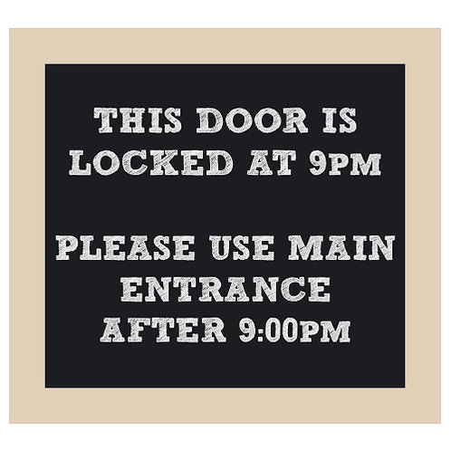 The Door Locks at ?PM Chalkboard Style Sign