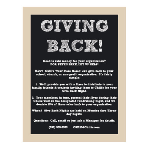 Giving Back Nights Chalkboard Style Sign