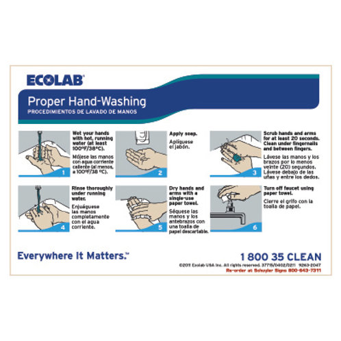 Decal - Steps to Washing Hands with Ecolab Artwork