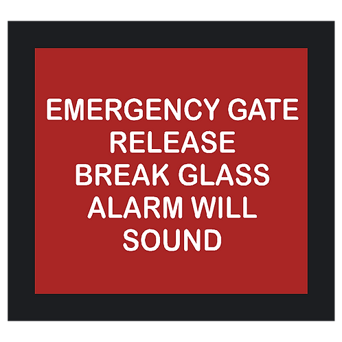 Emergency Gate Release Sign