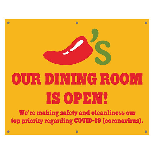 Banner, 5'w x 4'h, Our Dining Rooms is Open, COVID