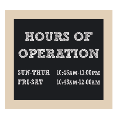 Hours of Operation Chalkboard Style Sign
