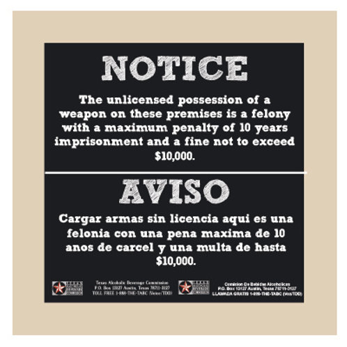 TABC English & Spanish Combo Weapons Sign Chalkboard Style