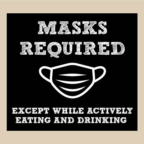"Masks Required ""Except While Actively..."" - Chalkboard Style Sign"