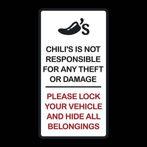 Hide Belongings Parking Sign