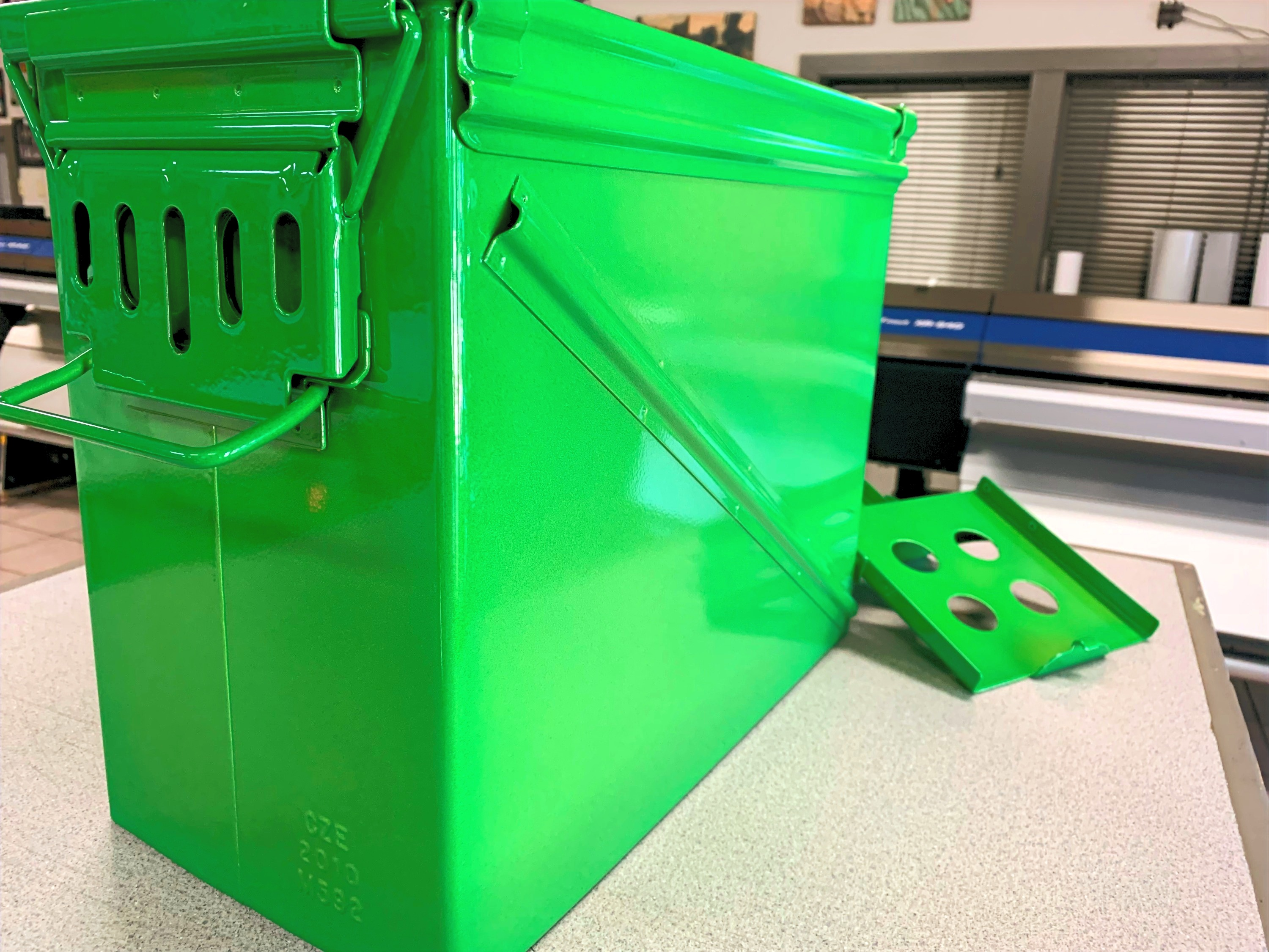 Vintage Ammo Box - Powder Coated w Silver then Green