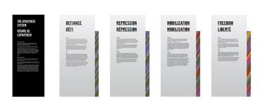 Concept art illustrating section title panels.