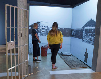 An interactive projection narrating Mandela's time in prison.