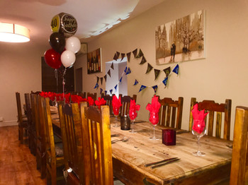 Upstairs ready for a party