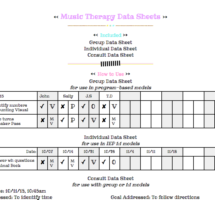 Music Therapy Data Sheets