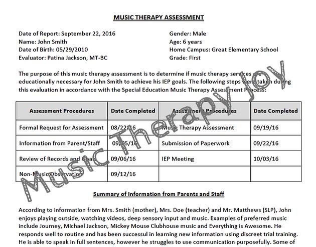 sample assessment form