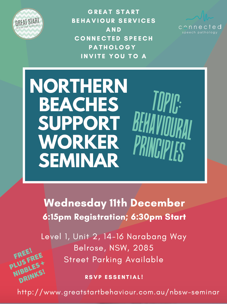 Colourful flyer with text advertising behavioural principles seminar in wed 11th December 2019 at 6:30pm in Belrose