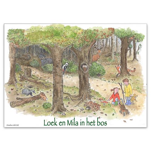 Poster A3 Loek en Mila in het bos