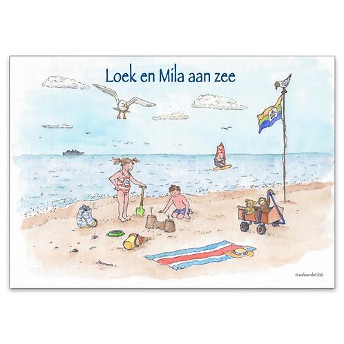 Poster A3 Loek en Mila aan zee