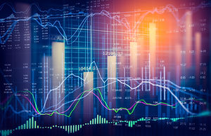 Stock market or forex trading graph and