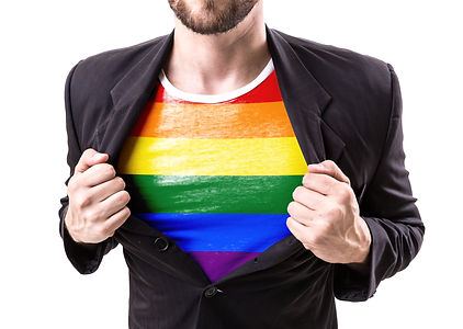 Businessman stretching suit with Rainbow