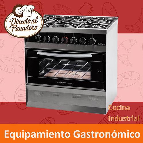 Cocina Mini 6 Hornallas Puerta Vidrio NEGRO