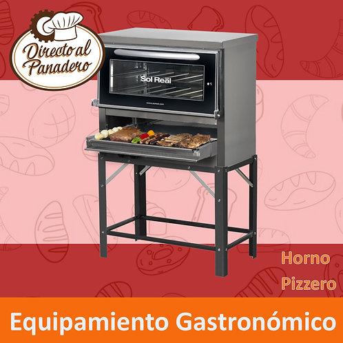 Horno Pizzero 6 Moldes C/Puerta Vidrio y PARRILLA - SOL REAL