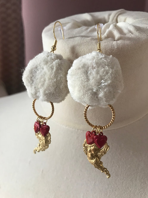 Frosted Pom Pom Earrings