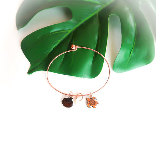 Koa Charms Bracelet , Rose gold :honu/shell