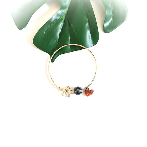 Gold Bangle with Wave,Pearl & Koa Honu Charms