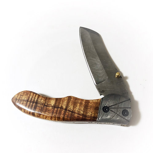 Koa Damascus Folding Knife (3)