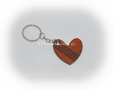 Koa Tribal Heart Keychain