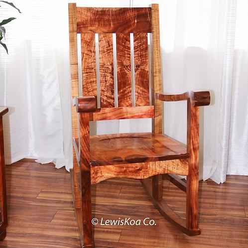 CURLY KOA Queen Liliuokalani Rocking Chair