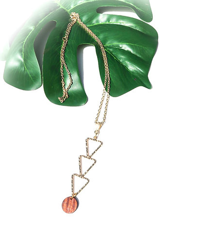 Tribal Design with Koa Charm Long Necklace