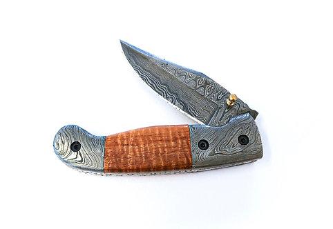Curly Koa + Damascus Folding Pocket Knife (1203)