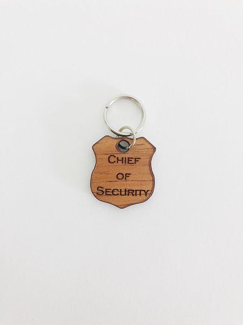 """Chief of Security"" Koa Collar Charm"