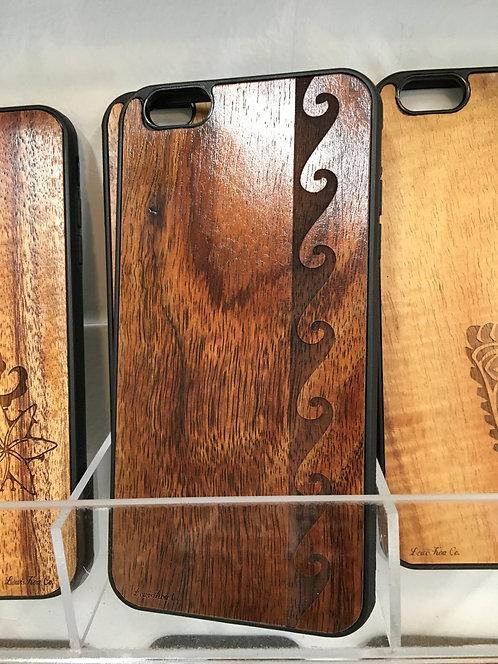 Koa Iphone Case, Tribal Wave