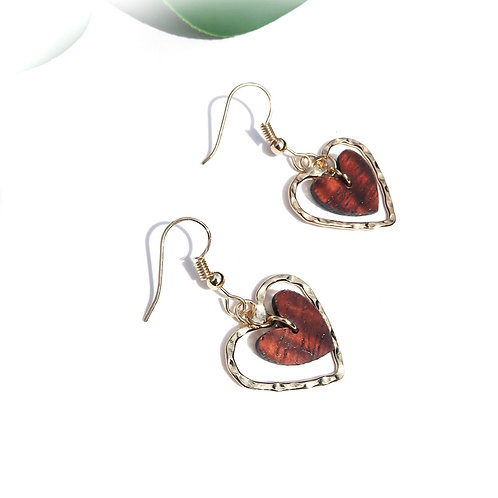 Heart with Middle Koa Heart Charm Earrings