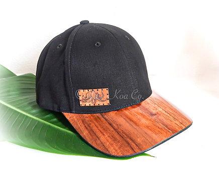Koa Curved Bill Cap, Black with side He'e Koa patch