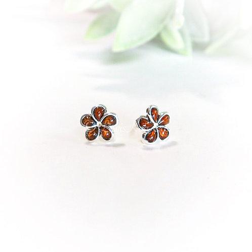 Koa & Silver Plumeria Stud Earrings
