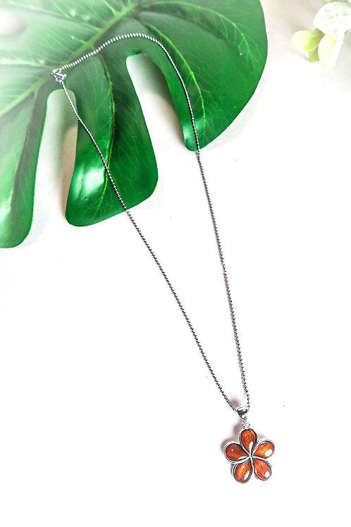 Koa & Silver Plumeria Necklace