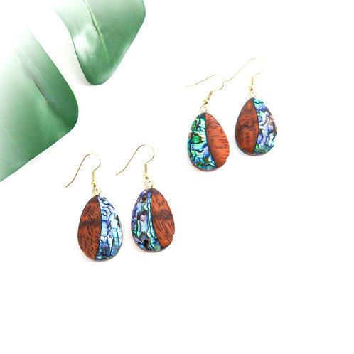 Koa with Paua Shell Earrings