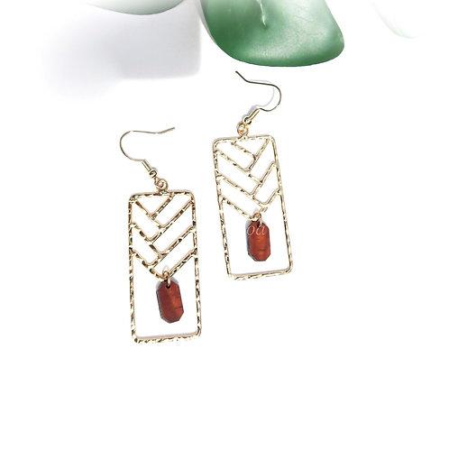 Lauhala Weave with Koa charm Earrings