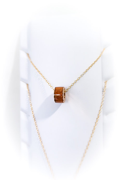 Koa Barrel Charm Pendant Necklace (KBN2)