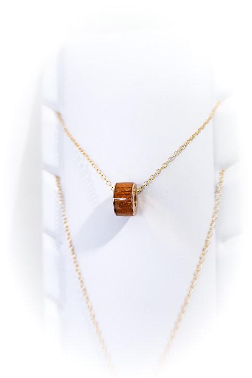 Koa Barrel Charm Pendant Necklace (KBN2)