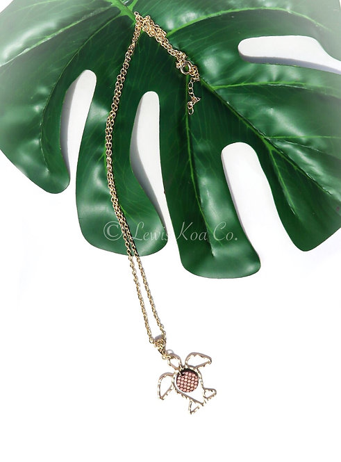 Honu with Koa Seashell Charm Long Necklace