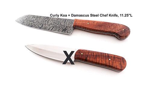 Curly Koa + Damascus Chef Knife (CKDKN100)