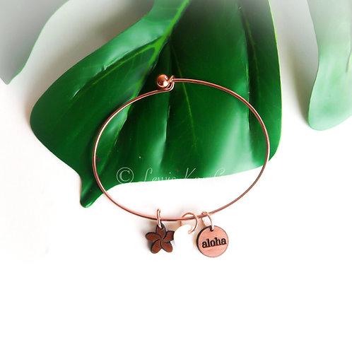 Koa Charms Bracelet , Rose gold : aloha/plumeria
