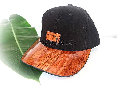 Koa Curved Bill Cap, Black with Islands Koa patch