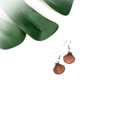 Seashell Koa Earring