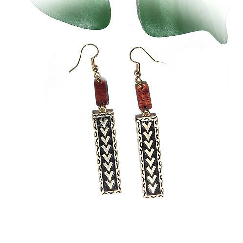 Tribal Spear with Koa Charm Earrings